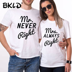 BKLD 2018 mężczyźni kobiety lato miłośników T Shirt pan i pani list wydrukowano odzież dla par T-Shirt miłośnicy topy podstawowe Tee koszule femme