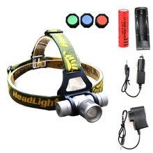 Zoomable Headlamp 1000 Lumens CREE Q5 LED Headlight Head lamp + Charger LED Head Light Lamp with Green / Red / Blue Diffuser
