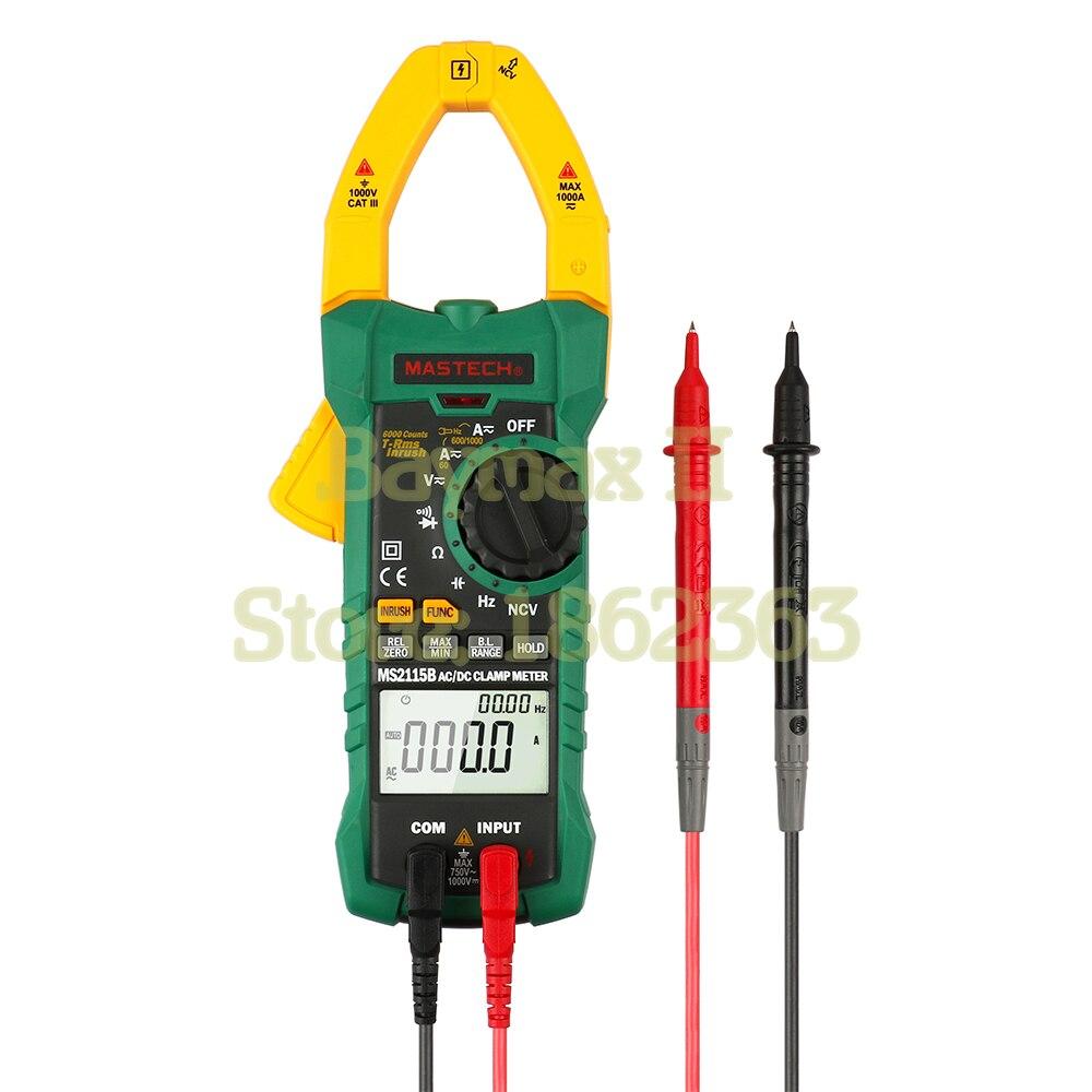 Mastech ms2115b digital true rms ac/dc braçadeira metros freqüência capacitância tester w/interface usb & ncv