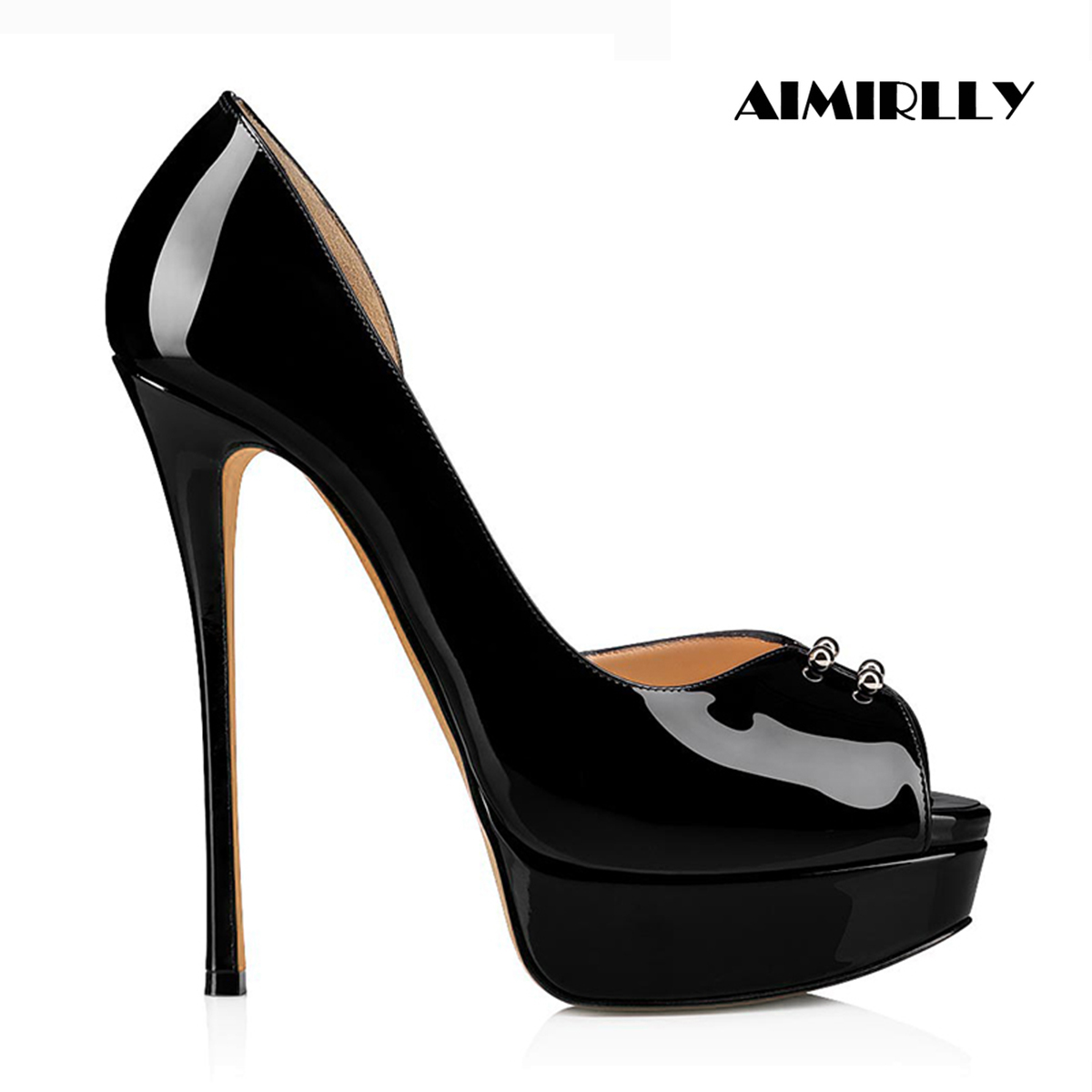 Aimirlly Women's Shoes Peep Toe High Heels Pumps Platform Shoes Ladies Party Clubwear Heels Slip On Patent Leather Female Shoes