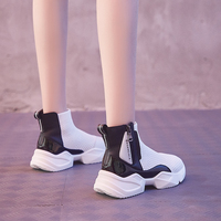 Dumoo Brand Elastic Socks Shoes Women Sneakers Knitting Casual Boots Heel 5cm Platform Wedges Lady White Shoes zapatos de mujer