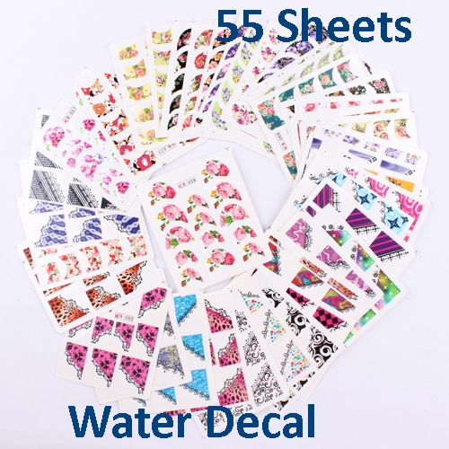 55 Sheets X Water Decals French Wrap Nail Art Stickers Mix Designs