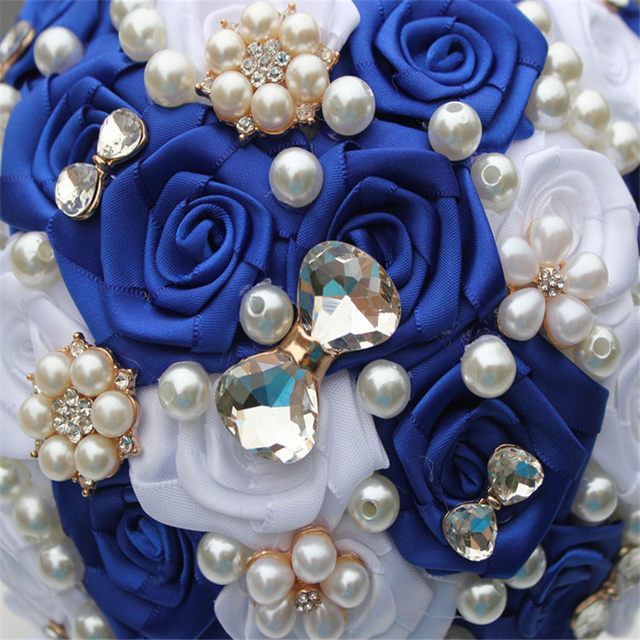 Online shop brooch royal blue white stunning bridal bridesmaid brooch royal blue white stunning bridal bridesmaid bouquets satin rose artificial flowers beautiful throw wedding bouquet w128 2 mightylinksfo