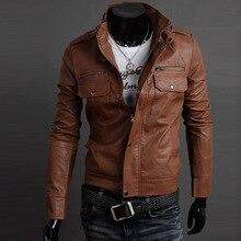Кожаные куртки Windbreaher 2018 весна осень мужские с двумя карманами повседневные кожаные пальто