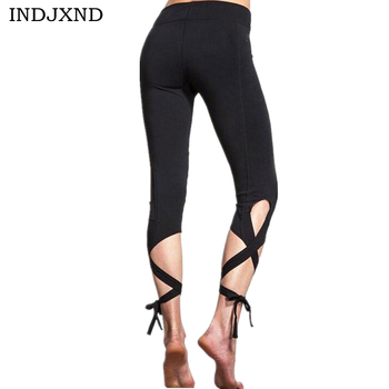INDJXND 2018 Women Pants Trousers For Ladies Fitness Plain Light Grey High Waist Crisscross Tie Fitness Elastic Leggings image
