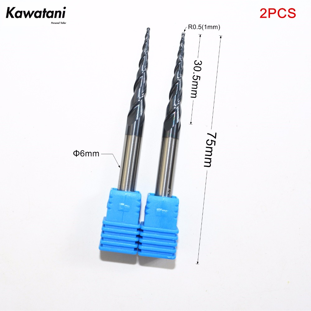 2pc Tapered Ball Nose End Mill Radius 0.5mm 3.175mm Shank CNC Engraving Tool Bit