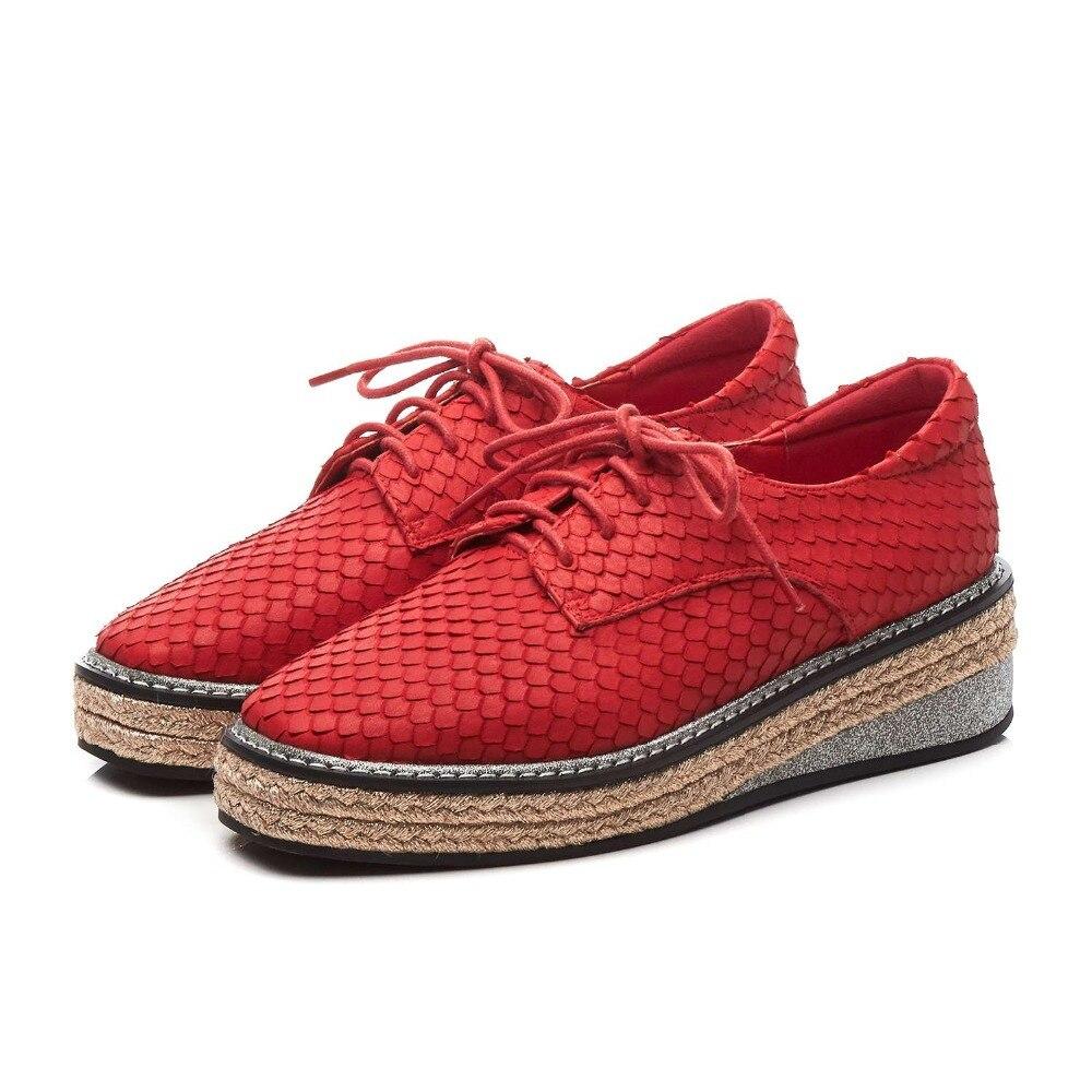 Lenksien style concis compensées plate forme patchwork bout pointu à lacets femmes pompes en cuir naturel punk rencontres chaussures décontractées L18 - 2