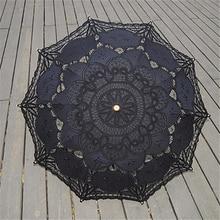 2016 Moda Nupcial do Casamento Handmade Bordado Preto de Algodão Borda Do Laço Sol Guarda-chuva Guarda-chuva de Noiva Decoração Do Partido Barato(China (Mainland))