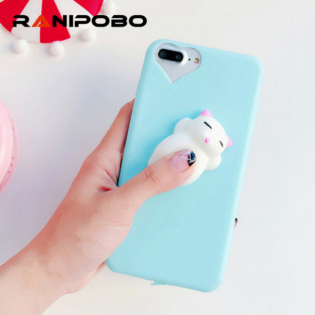 cfd738a104 Fashion Soft Pressure Release Phone Case Squishy 3D Cute Sleep Cat Phone  Cover for iPhone 7 7 Plus 6 6S Plus Case Silicone Shell