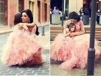 2017 сладкий Кружево розовый Платье в цветочек для девочек для свадьбы бальное платье оборки Тюль Sheer дешевой цене Формальное платья для мамы