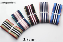 Kewgarden 38mm 1-1/2 Stripe Satin Ribbons Handmade Tape DIY Bowknot Accessories Riband 6m/lot kewgarden handmade tape 1 1 2 38mm thick soft cotton fabric satin ribbon diy bow tie brooch ribbons double face riband 8 meter