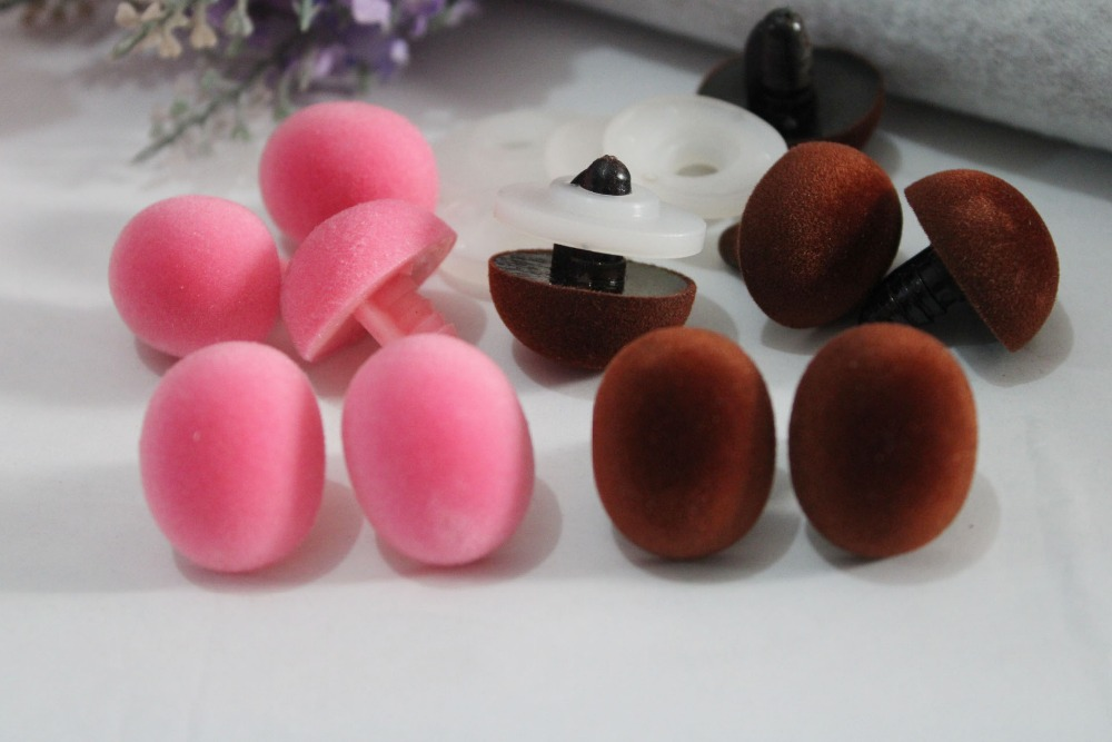 100pcs lot 19x24mm Oval shape pink brown color flocking toy nose safety toy nose hard washer