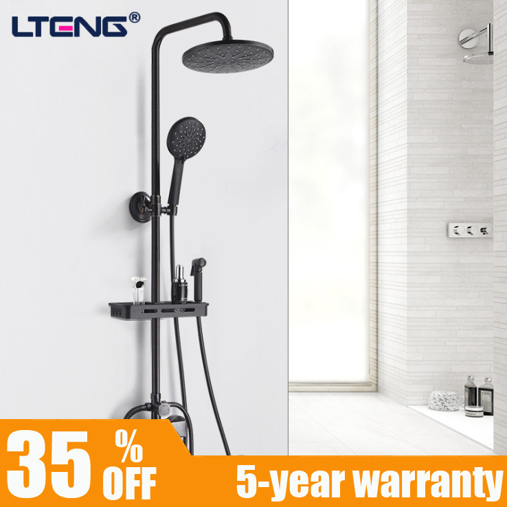 купить LTENG copper shower set with hand spray and spray gun matt black shower system shower faucet head free shipping по цене 8883.87 рублей