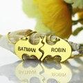 Venta al por mayor Mano Estampada Batman Nombre Collar Nombre Collar de Oro Mejor Perras Tú Eres Mi Superhéroe Mejor Joyería Amistad