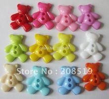 NB075 cartoon buttons 500pcs mixed colors BEAR shape 16mm*19mm 2 holes plastic for childrens garment