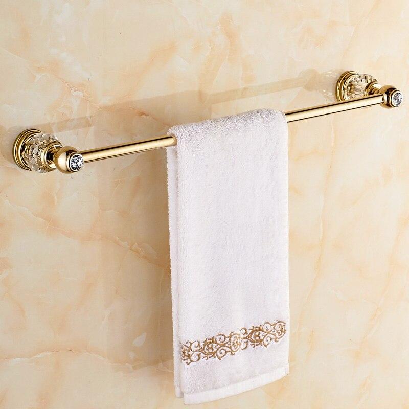 Jieshalang 60cm Brass Towel Rail Wall Mount Single Towel Bar Crystal Bathroom Accessories Gold Rose Vintage Towel Holder 7024 In Towel Bars From Home
