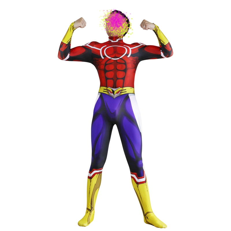 FOGIMOYA Anime  My Hero Academia All Might Cosplay Costume Zentai Jumpsuit Bodysuit Halloween Carnival Party For Adult Men Kids