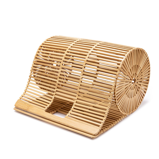 REALER women handbags bamboo top handle bag for ladies 2019 Summer holiday beach bag big bucket hollow bag female causal totes