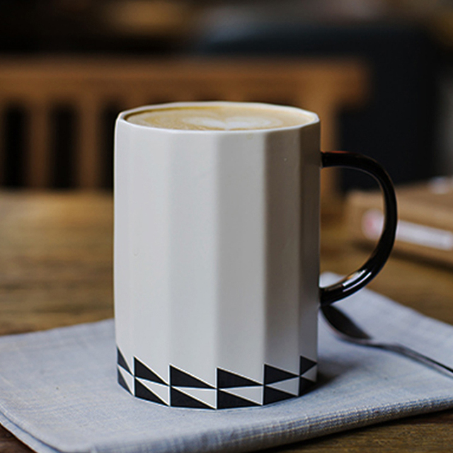 16oz Ceramic Tea Cup Brief White Geometric Coffee Mug Large Office Milk Water Drinking Creative