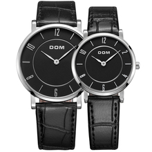 Luxury Brand DOM Lovers Quartz Watch Simple Style Design Dress Clock Top Casual Couple Soft Leather Band  Business Wristwatch