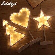 LAIDEYIแบตเตอรี่ไดรฟ์LEDไฟกลางคืนต้นคริสต์มาสดาวหัวใจรักโคมไฟห้องสาวตกแต่งโทนแสงสีเหลืองแสงสุขา