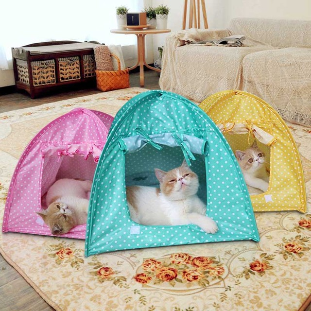 Cute Polka dots small Pet dog Cat play Tent Bed Pad mat foldable cat kitten House : cat play tent - memphite.com