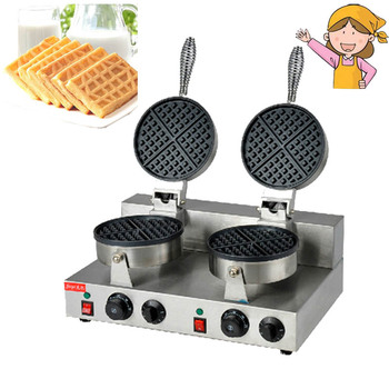 Electric Double Head Waffle Maker Mould Plaid Cake Furnace Heating Machine Square Waffle Oven Hot Sale FY-2 1ps fy 2205 rotating waffle electric heating waffle single head stainless steel waffle mcmuffins machine