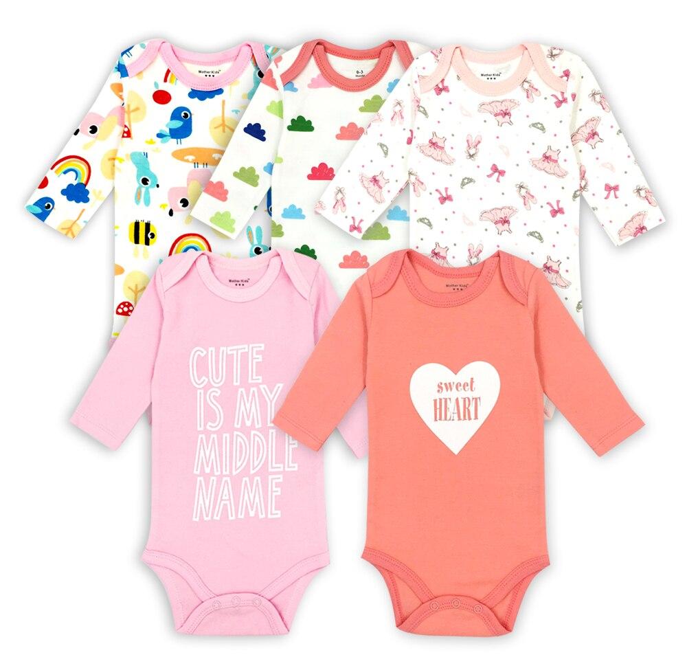 5/3/2 Pcs Tender Babies 100% Cotton Random Delivery newborn baby girls rompers jumpsuit Long Sleeve Pajamas infant costum