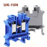 10/15/50 pces montagem em trilho din parafuso blocos terminais bornier UK 10N cabo de fio terminais elétricos bloco conector latão morsettiera|Blocos de terminais| |  -