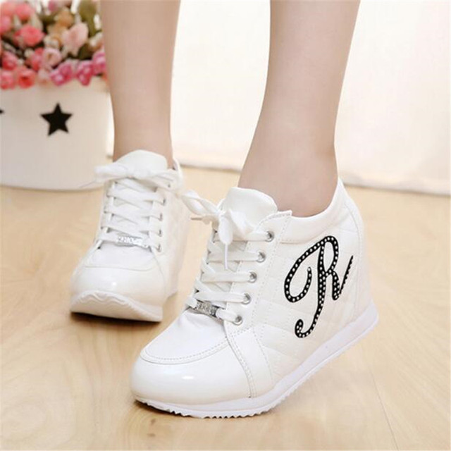 Hot Sales New 2017 Autumn Black White Hidden Wedge Heels Casual Shoes Women's Elevator High-heels boots For Women Rhinestone
