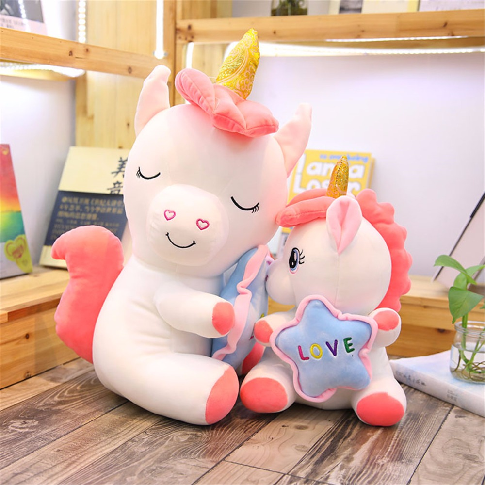 1pc 35 50cm Kawaii Holding Stars Unicorn Plush Toys Giant Stuffed