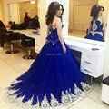 Azul Royal Vestidos de Baile 2017 vestido de Princesa Vestido Para A Graduação Vestido Longo Elegante Bow Voltar Tulle Vestido de Festa Mulheres Vestido Formal