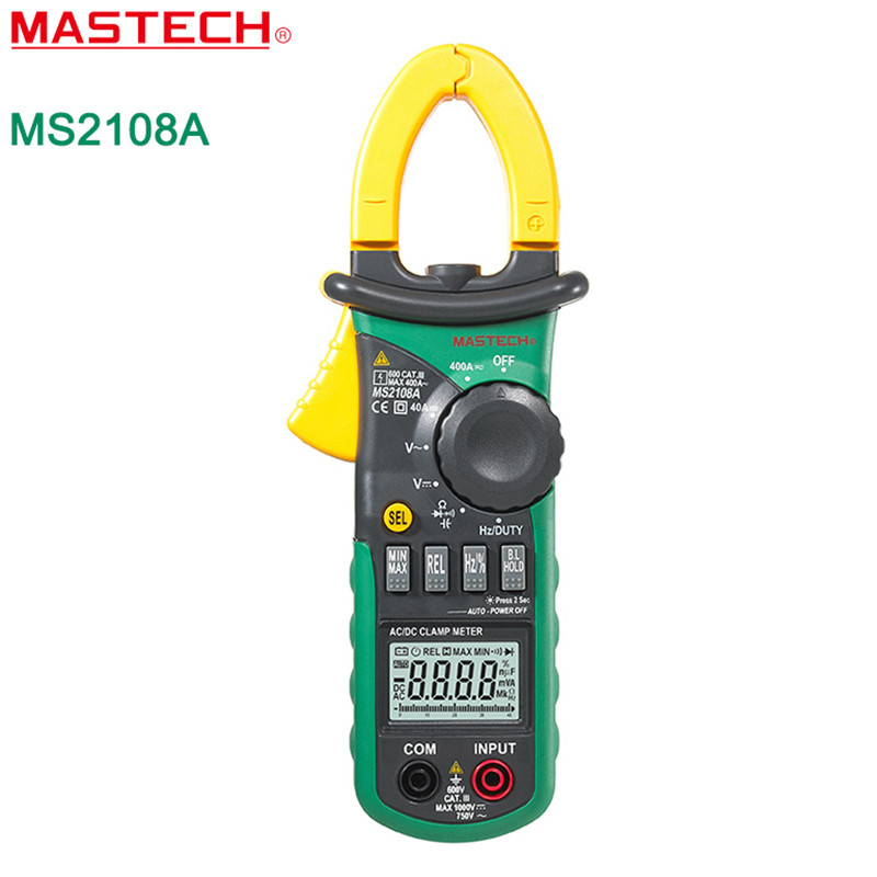 MASTECH MS2108A Digital Clamp Meter Amper AC DC Current Voltage Frequency Capacitor Resistance Tester Auto Range Multimeter digital clamp meter mastech ms2108a auto range multimeter ac 400a current voltage frequency clamp multimeter tester backlight