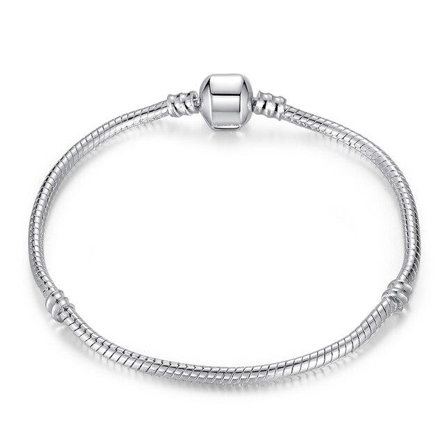 BAMOER 5 Style Silver Color LOVE Snake Chain Bracelet & Bangle 16CM-21CM Pulseras Lobster PA1104 2