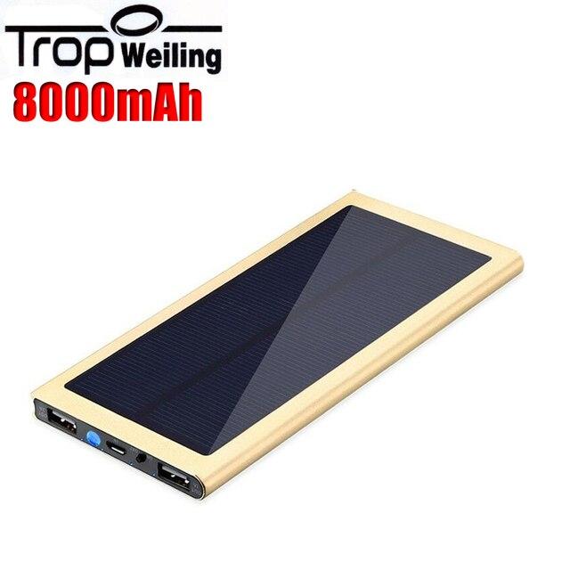 Tropweiling солнечная powerbank 8000 мАч pover банк портативный телефон зарядное устройство для iphone 6 s/Все телефон poverbank