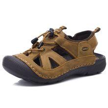 Top qualité sandale 2017 hommes sandales d'été pantoufles en cuir véritable sandales hommes en plein air chaussures hommes en cuir sandales pour hommes