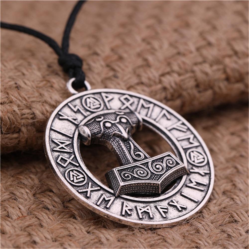 Viking Cord Odin/'s Ravens Of Thor/'s Hammer Mjolnir Scandinavian Axe Wolf Pendant