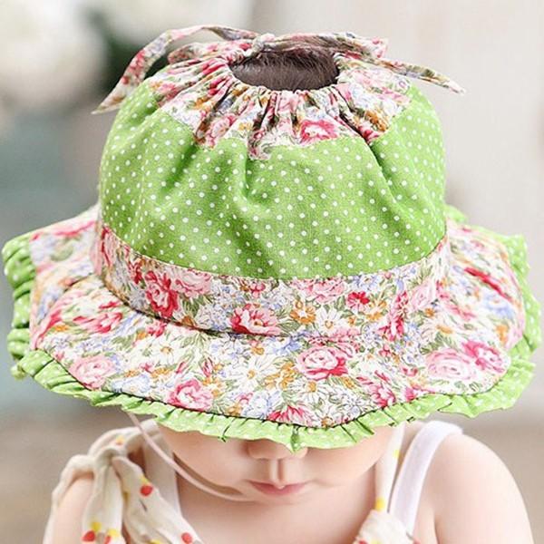 Bébé Filles Seau Chapeau Soleil Avec Menton Sangle Frilly Brim Summer Floral Newborn 0-3