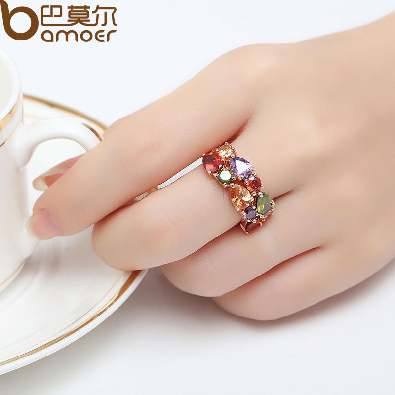 BAMOER Unique Design Rose Gold Color Mona Lisa Ring for Female