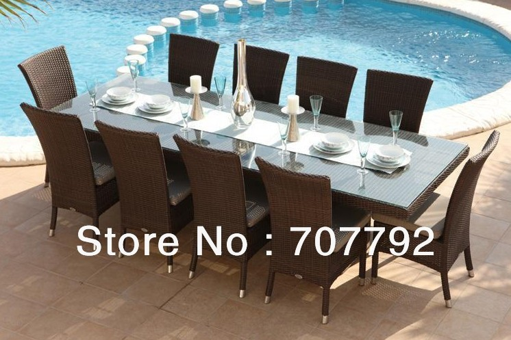 2017 Rattan outdoor furniture Cheap Dining Collection dining table 10 seats chairs