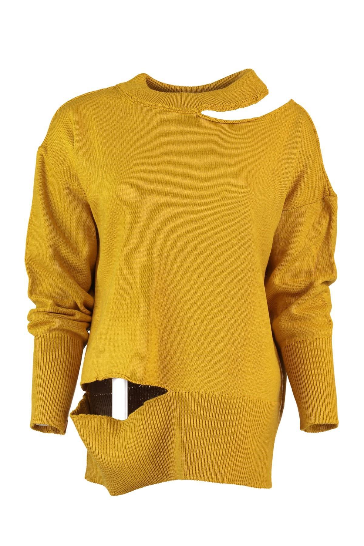 Trendyol WOMEN-Mustard Cut-out Detail Sweater Sweater TWOAW20DU0016