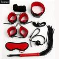 Sexo Bondage Kit Set 7 Unids Sexy Conjunto de Productos de Juegos Para Adultos juguetes Juego de Puños de la Mano Footcuff Cuerda Blindfold Látigo Parejas Juguetes Eróticos