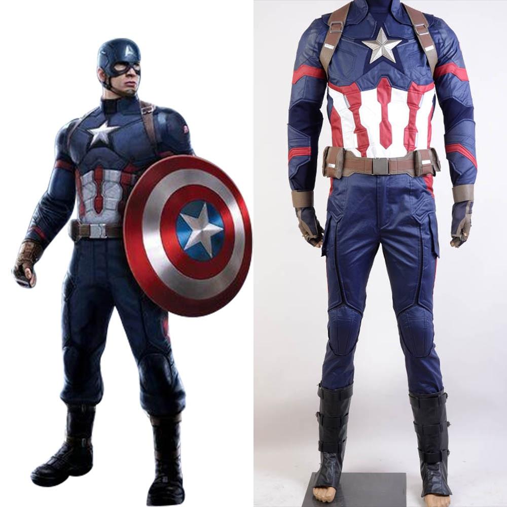 Captain America Civil War Carnival Cosplay Costume Captain America Costume Adult Men Halloween Full Set Costume