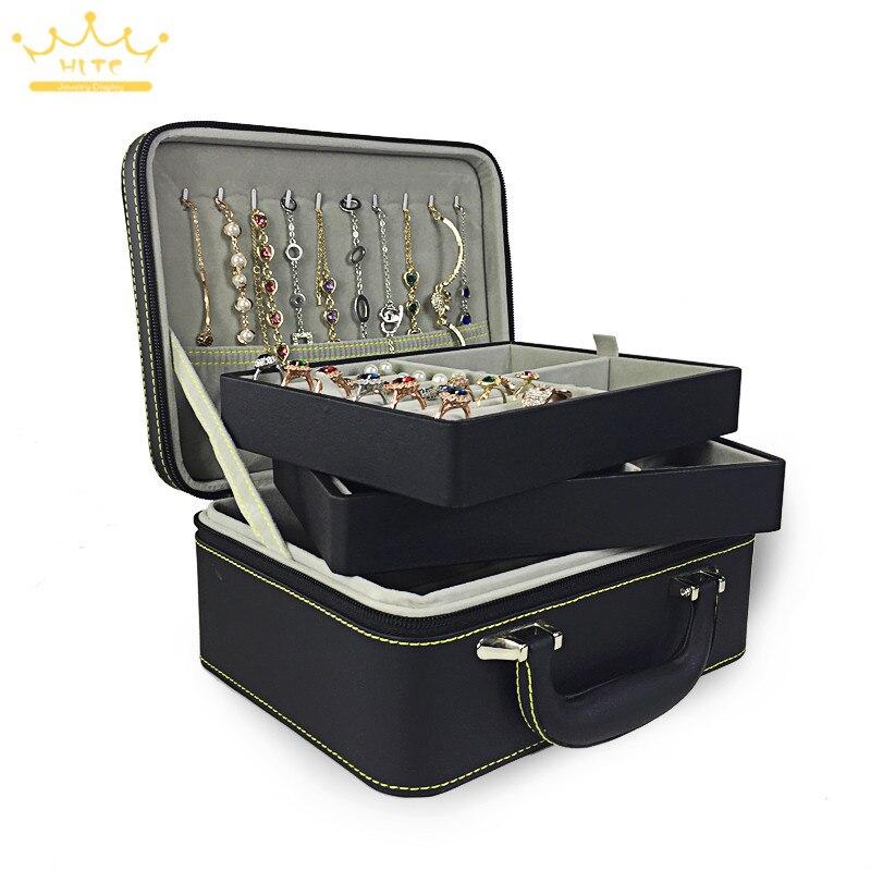 1pc PU cuir double bijoux avec fermeture éclair boîte de rangement multicouche boucles d'oreilles collier bracelet anneau stockage boîte à bijoux - 2