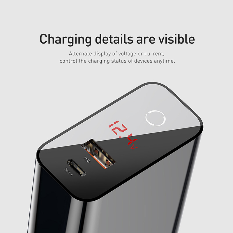 Image 2 - Baseus Digital Display Quick Charge 4.0 3.0 USB Charger QC 4.0 3.0 Charger USB C 18W PD 3.0 Fast Charger for iPhone 11 Pro-in Mobile Phone Chargers from Cellphones & Telecommunications