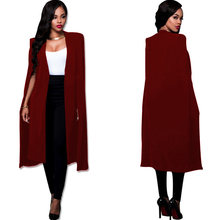 f0f3f2406e S-4XL Fashion Cloak Cape Blazer Women Autumn Winter Coat Lapel Split Long  Sleeve Casual Suit Jacket Outerwear Workwear Plus Size