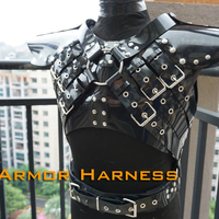 (RD1084)Luxury Customize Handmade Latex Rubber Body Armor Harness Bondage Fetish Wear