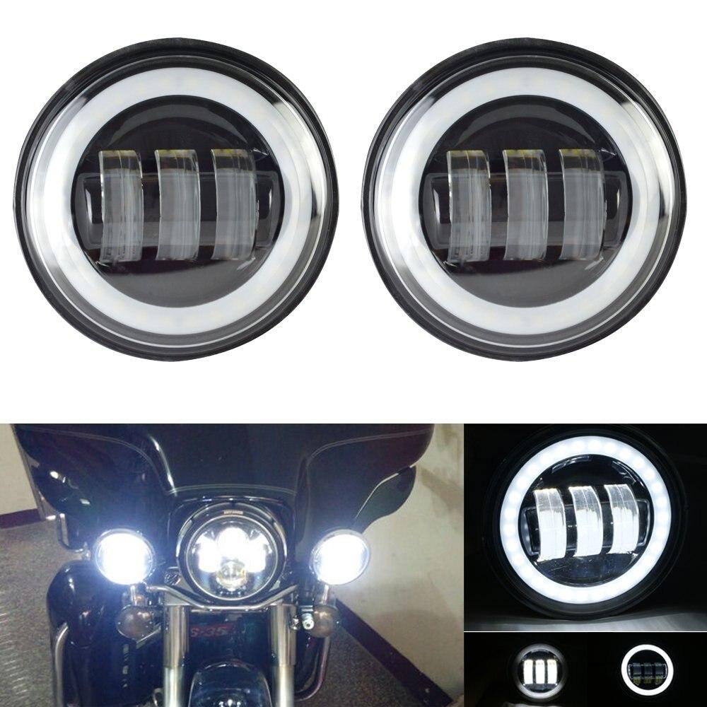 7 pollici A LED Del Faro bianco DRL, 4.5 pollici Halo Nebbia Luci, anello adattatore per Harley Touring Electra Glide Road King Street Glide - 4