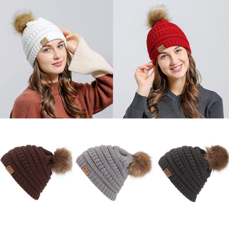 Fashion Women Lady Girl Faux Fur Ball Winter Warm Outdoor Hat Crochet Casual Knitted Beanie Pom Pom Bobble Brand Cute Cap
