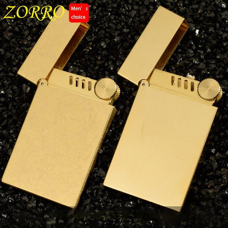 Zorro laiton Ping briquet roi qualité essence kérosène huile essence rechargeable allume-cigare meules feu